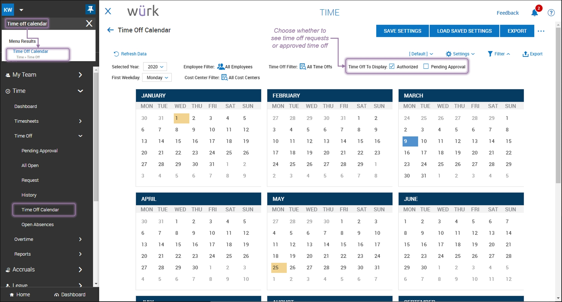Checking Your Team Time Off Calendar