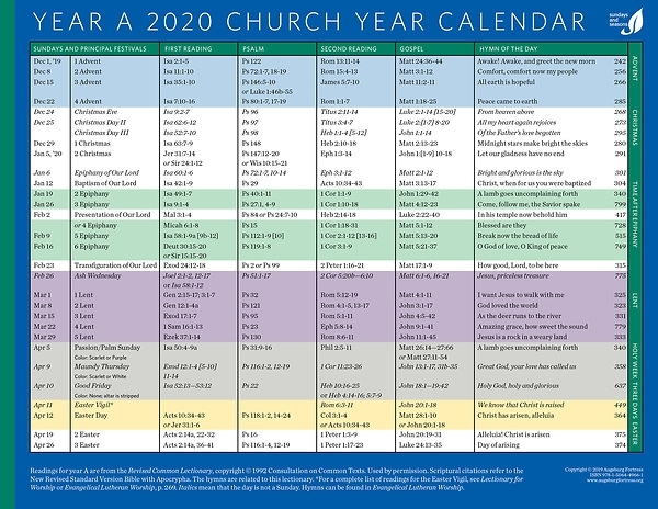 Church Year Calendar 2020, Year A | Cokesbury