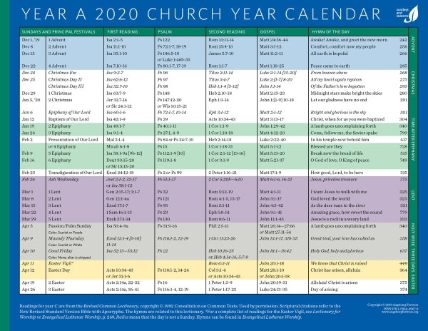 Church Year Calendar, Year A 2020: Downloadable | Augsburg
