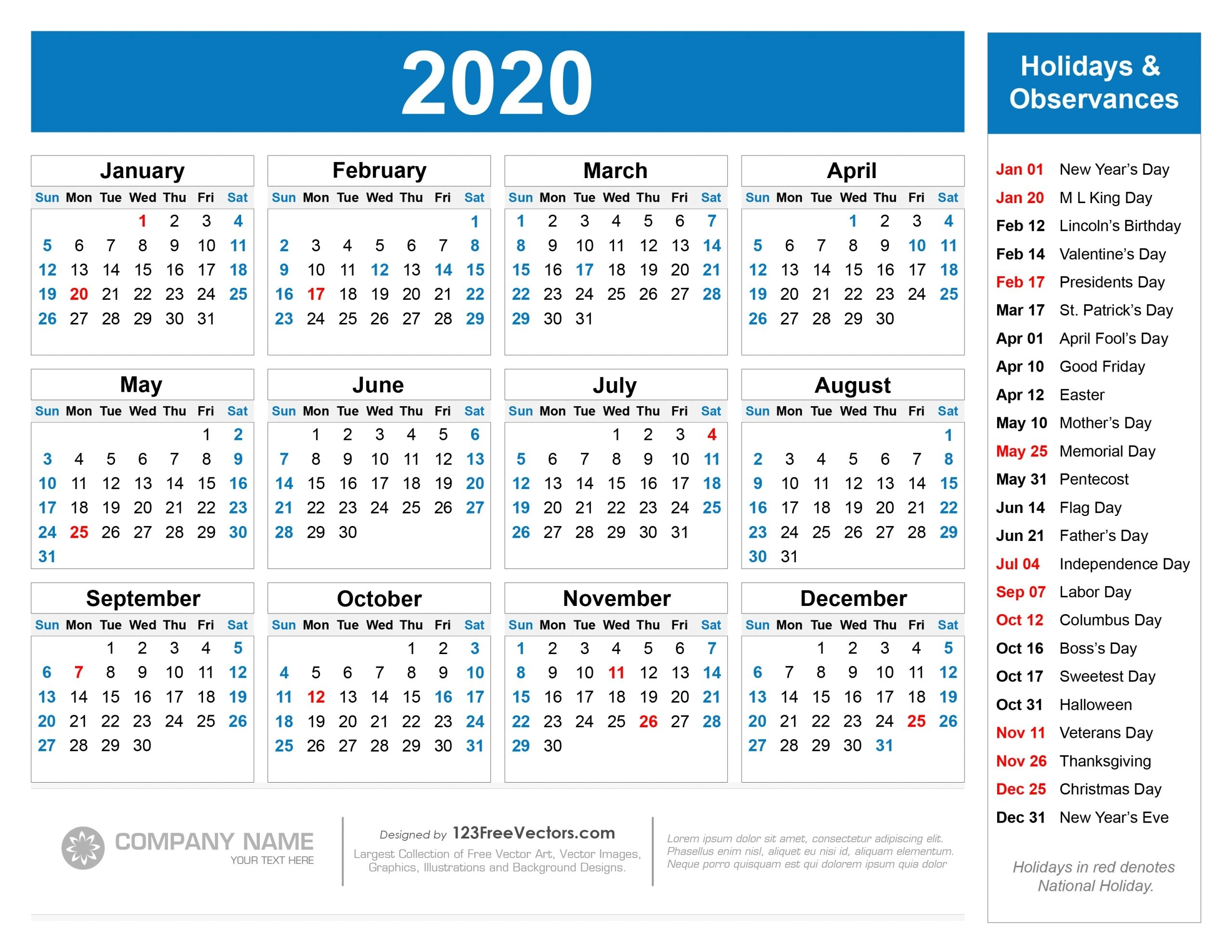 Collect 2020 Calendar With Federal Holidays | Calendar