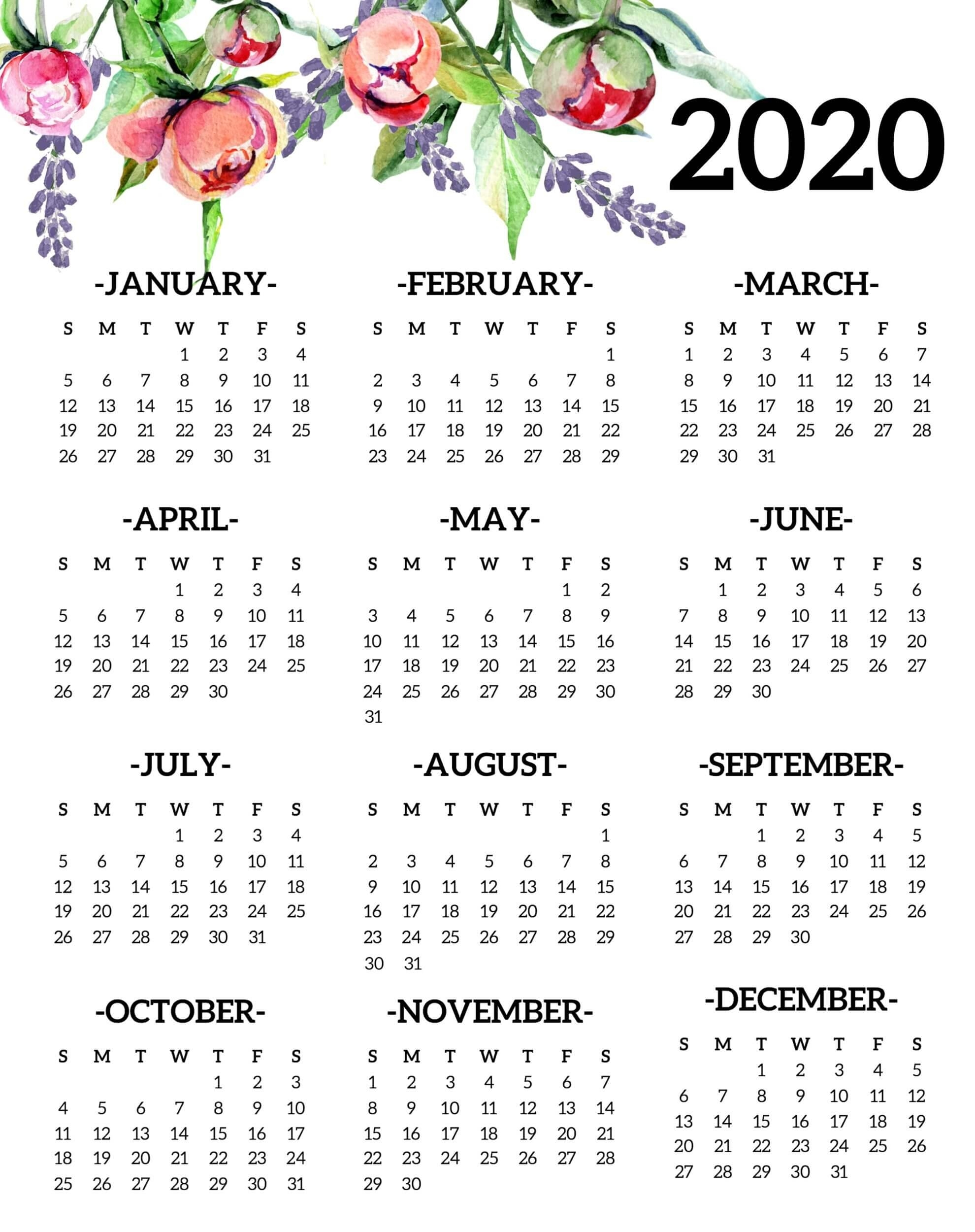 Collect Free Half Page Printable Yearly 2020 Calendar