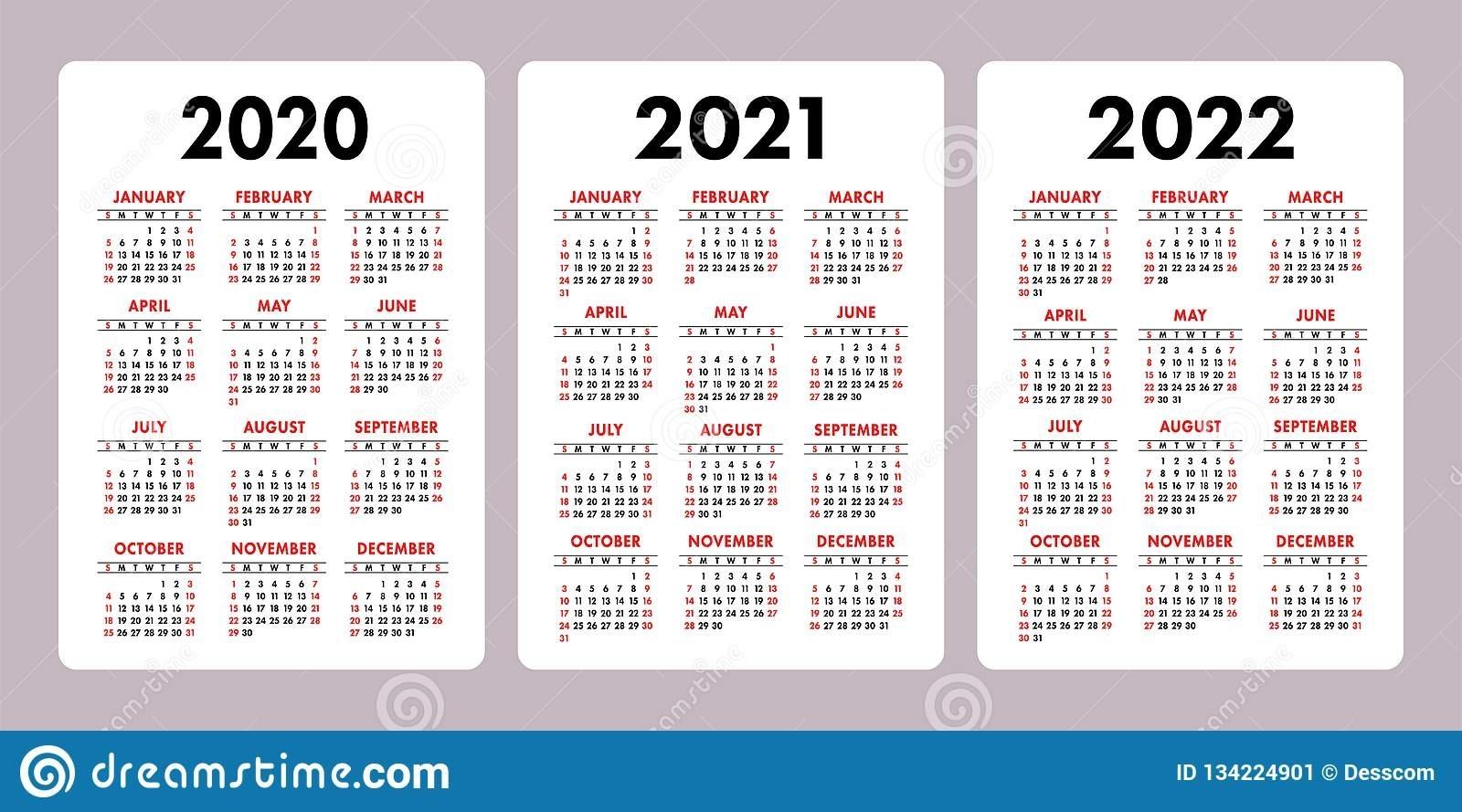 Collect Free Printable Calendar 2020-2022 | Calendar