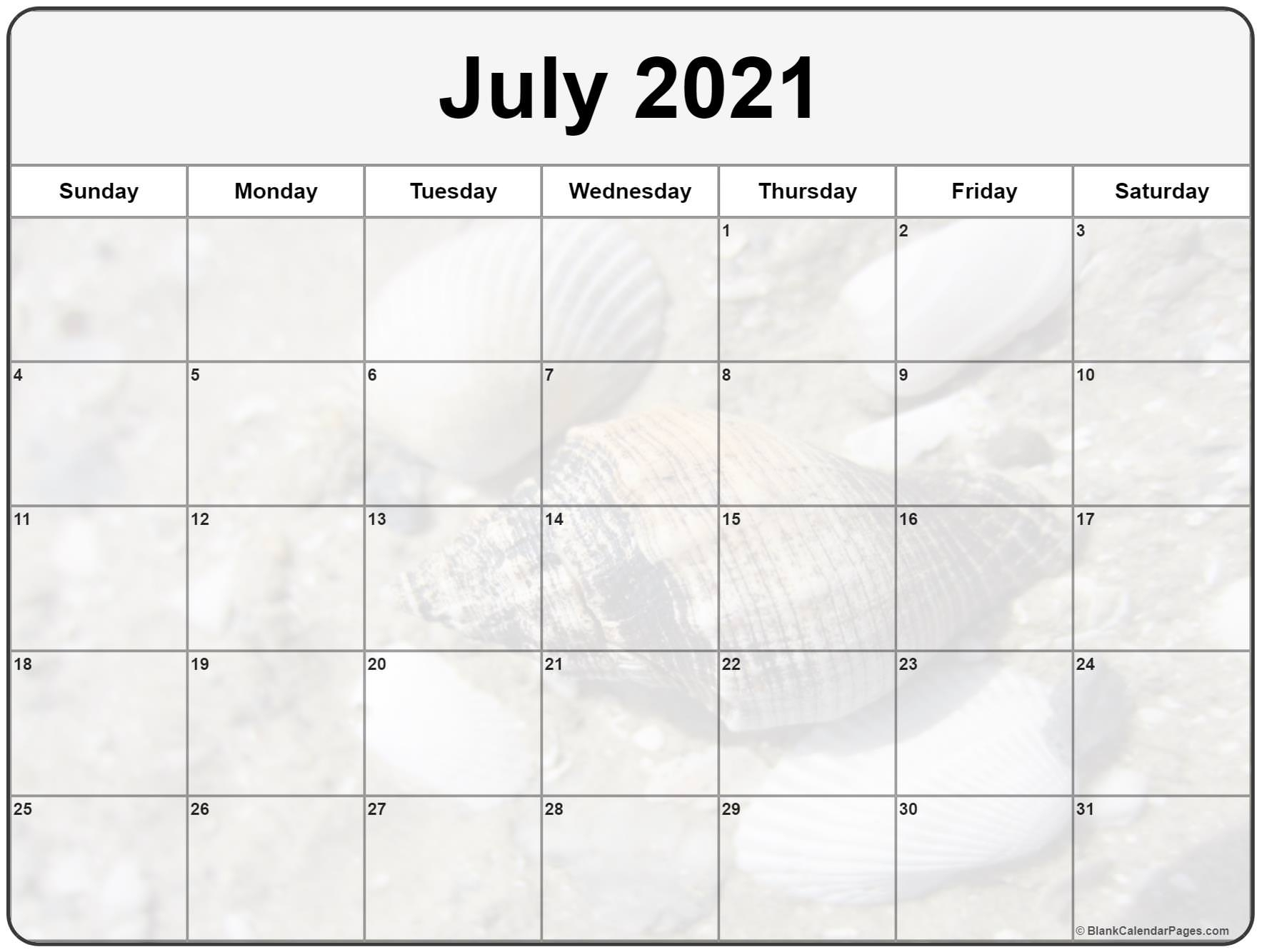 Collection Of July 2021 Photo Calendars With Image Filters.