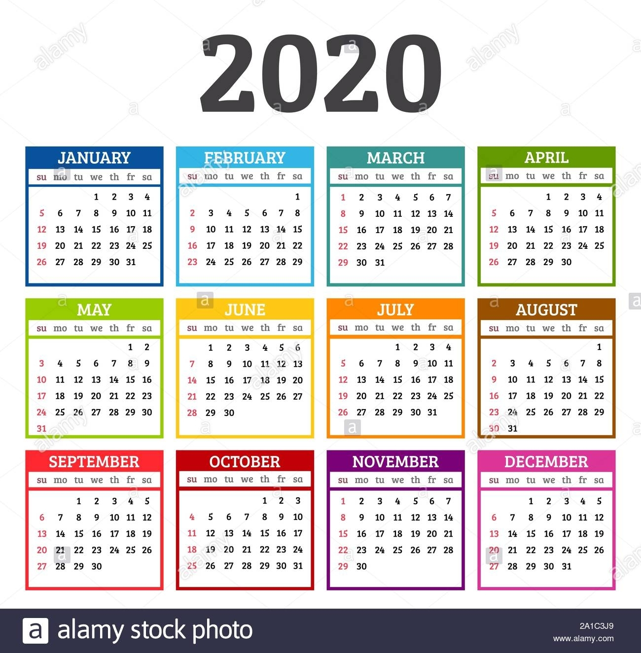Colorful Calendar 2020 Year. Week Starts From Sunday