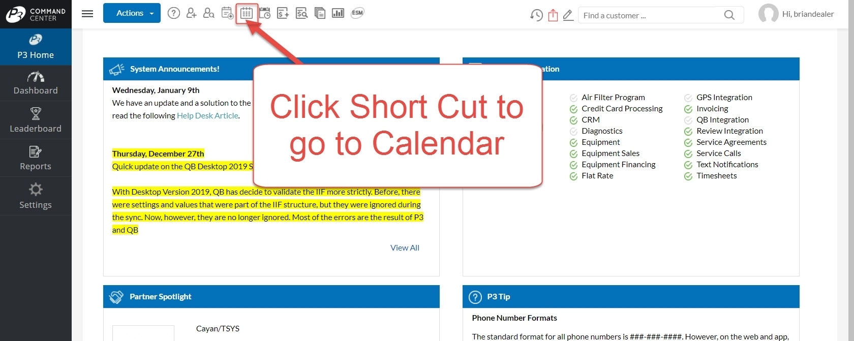 Create Service Call From Calendar – P3 Help Desk
