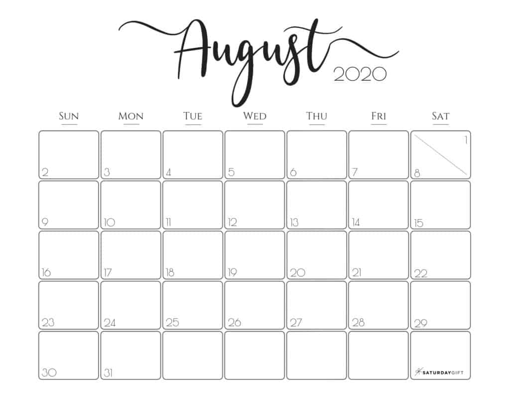 Cute (& Free!) Printable August 2020 Calendar | Saturdaygift
