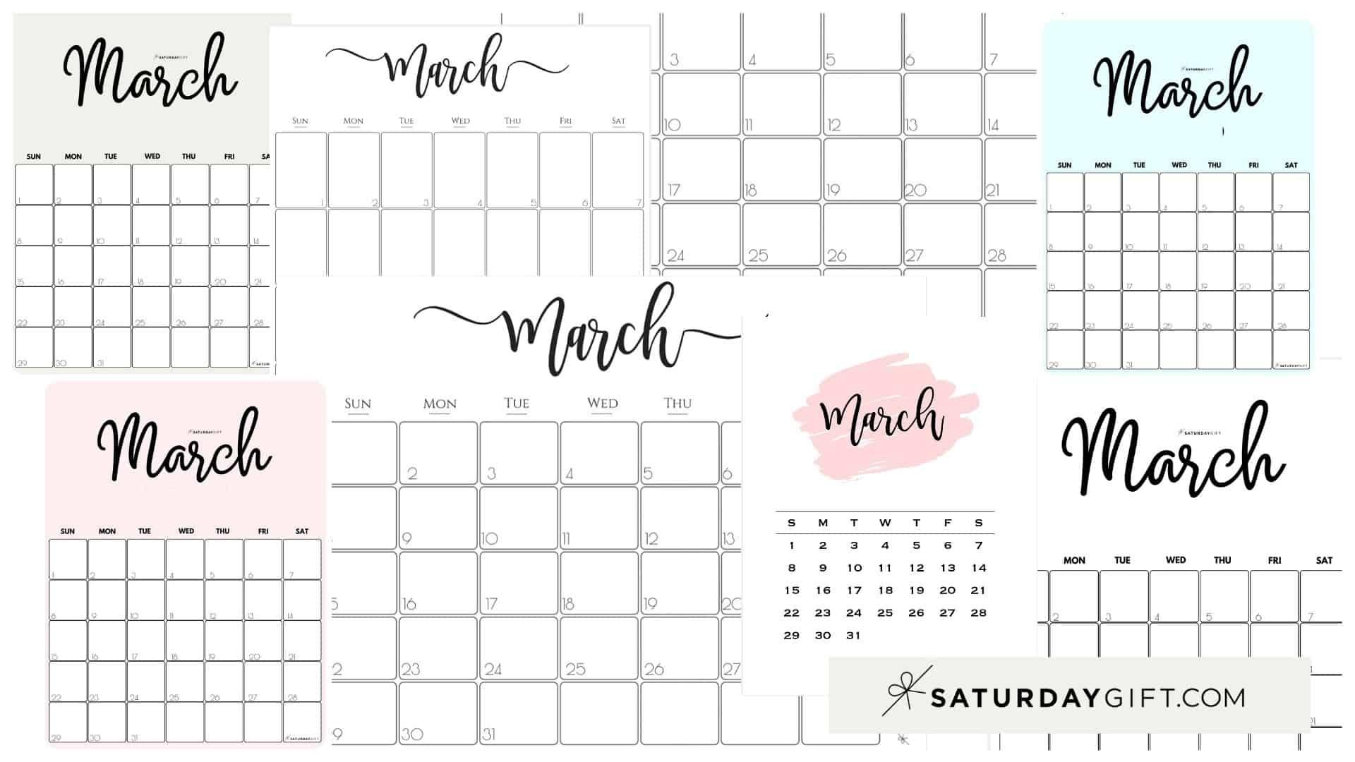Cute (& Free!) Printable March 2021 Calendar | Saturdaygift