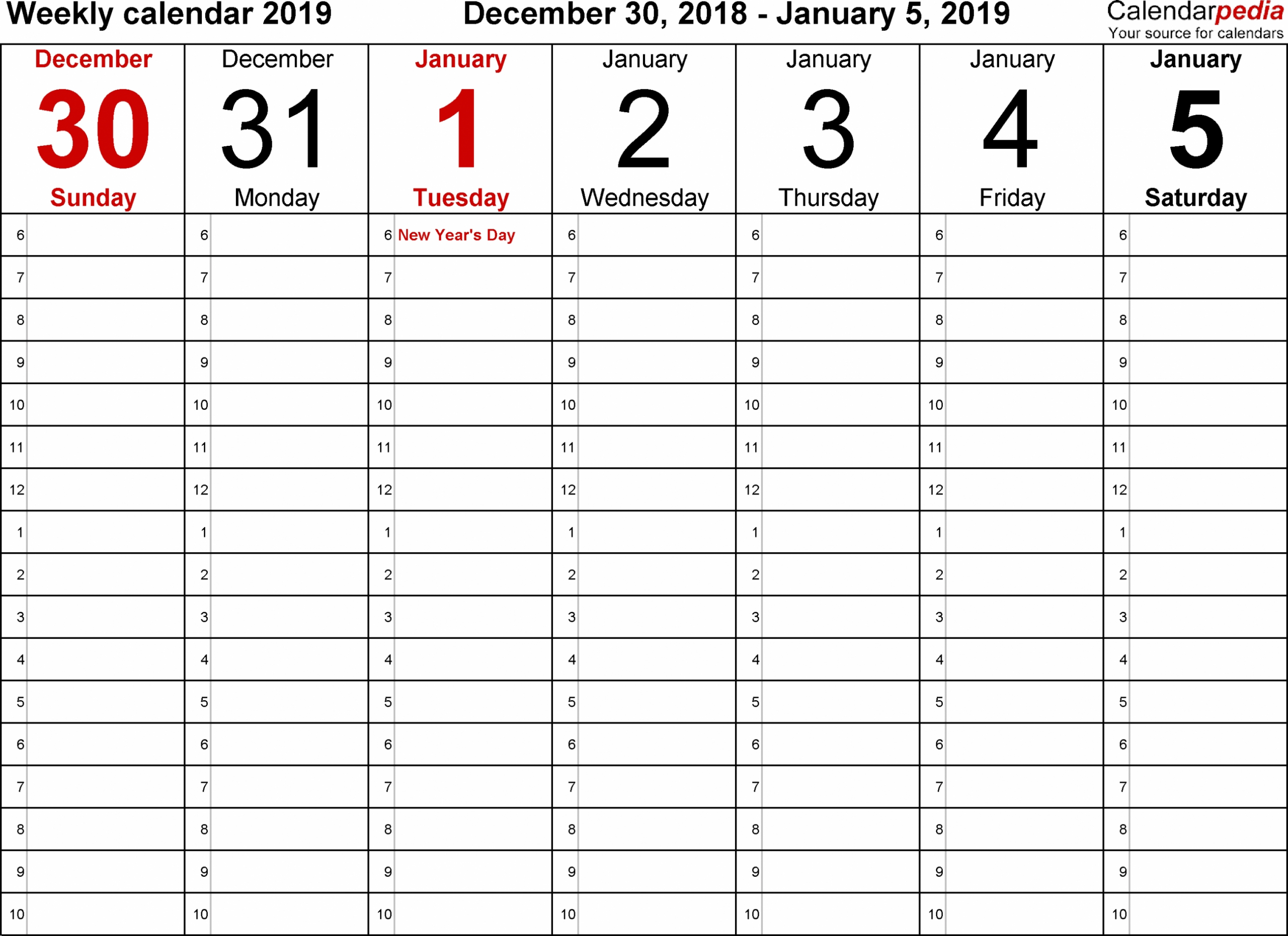 Daily Calendar 2019 Free | Daily Calendar Printable 2019