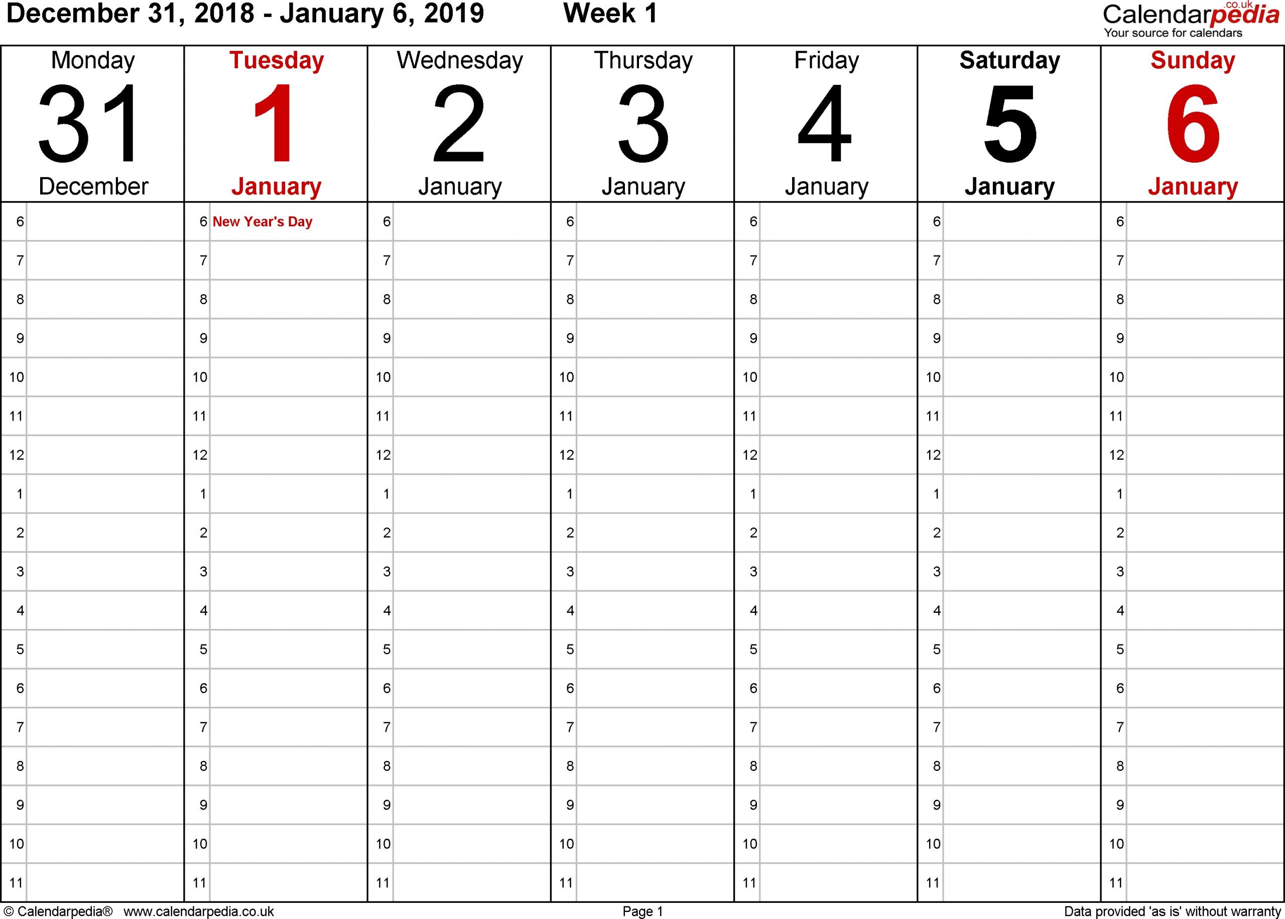 Daily Calendar Pdf 2019 | Daily Calendar Printable 2019