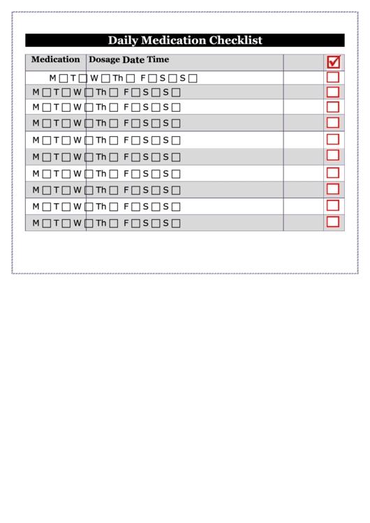 Daily Medication Checklist Printable Pdf Download