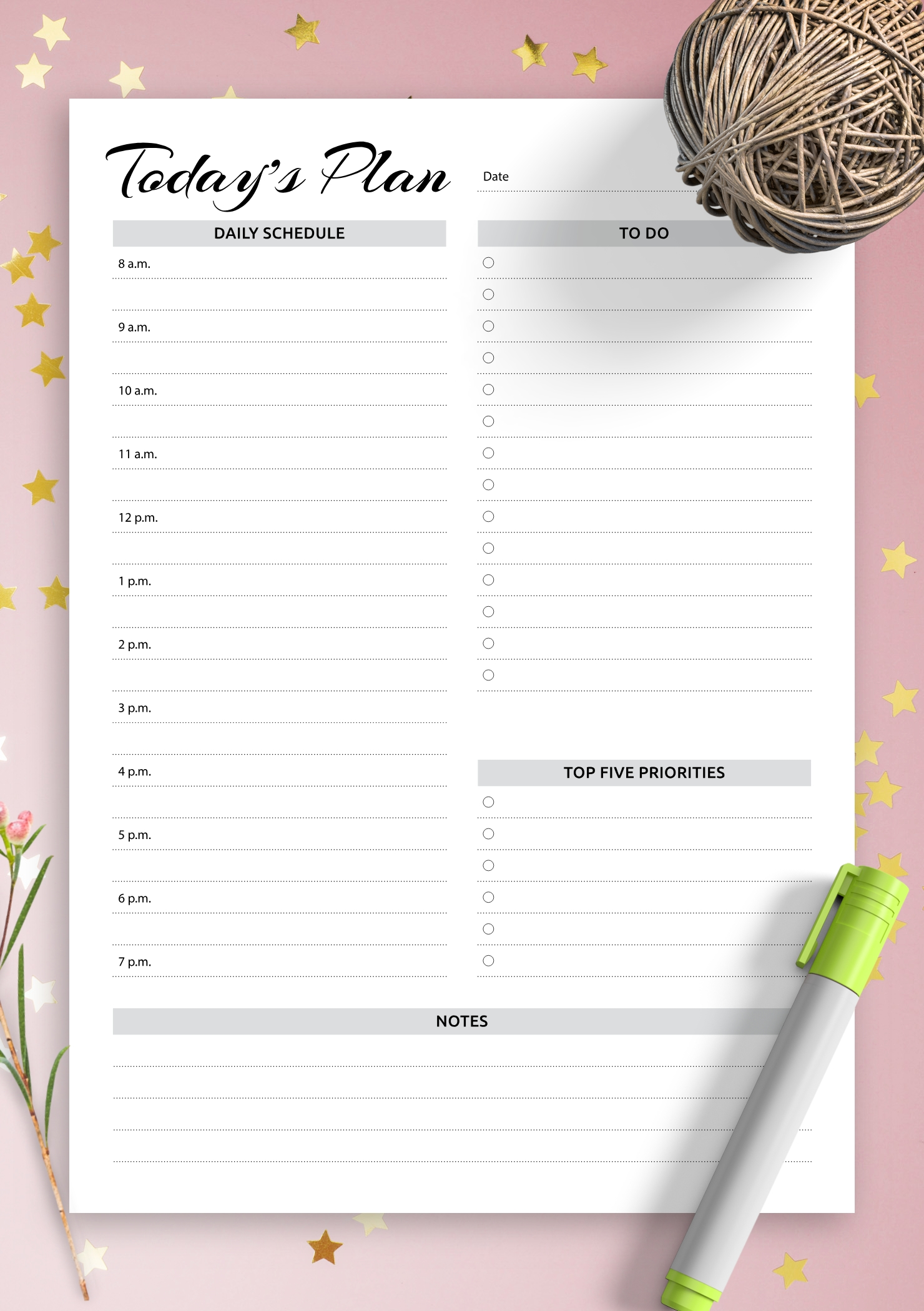 Daily Planner With Hourly Schedule & To-Do List - Am/Pm