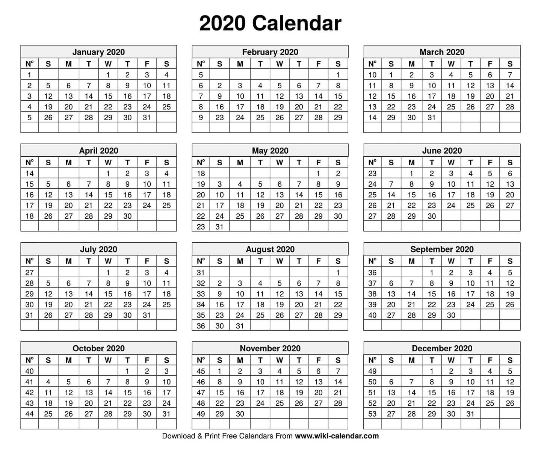 Dashing 2020 Calendar With Days Numbered • Printable Blank