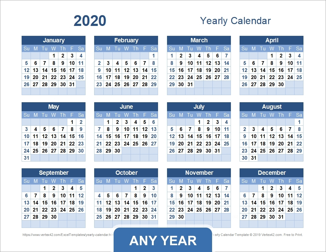 Dashing 2020 Calendar With Days Numbered • Printable Blank