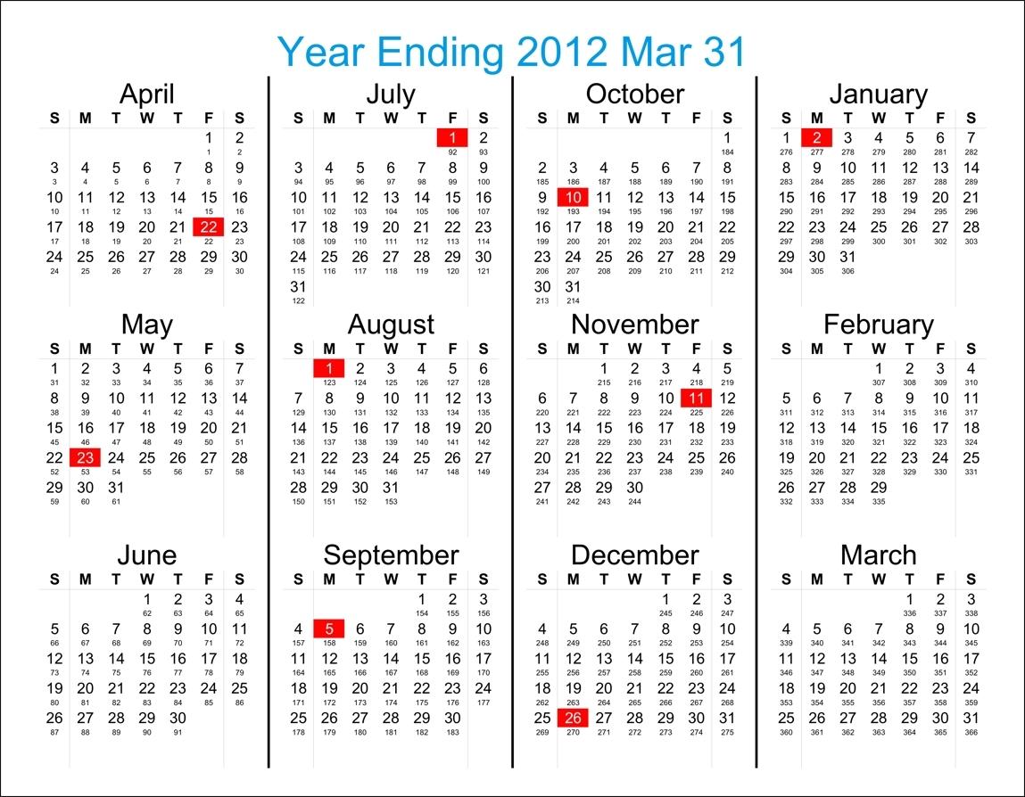Day Of Year Calendar | Ten Free Printable Calendar 2020-2021