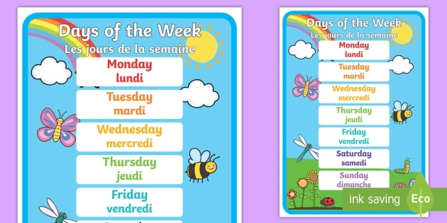 Days Of The Week A4 Display Poster English/French - Les