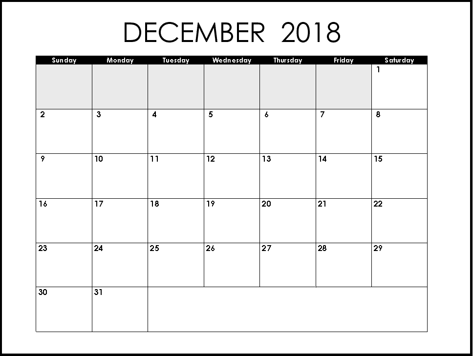December 2018 Blank Planner With Extra Space For Notes