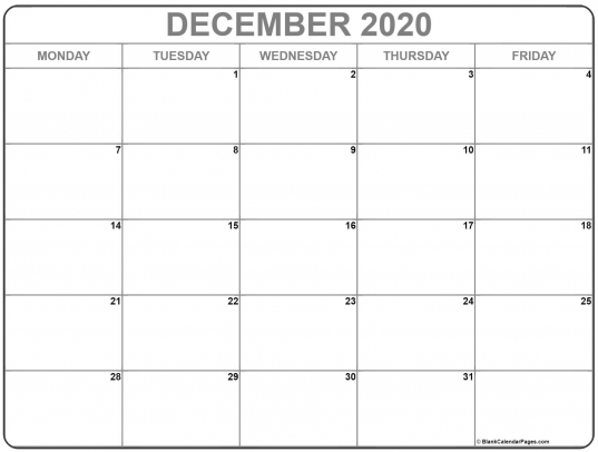 December 2020 Monday Calendar | Monday To Sunday