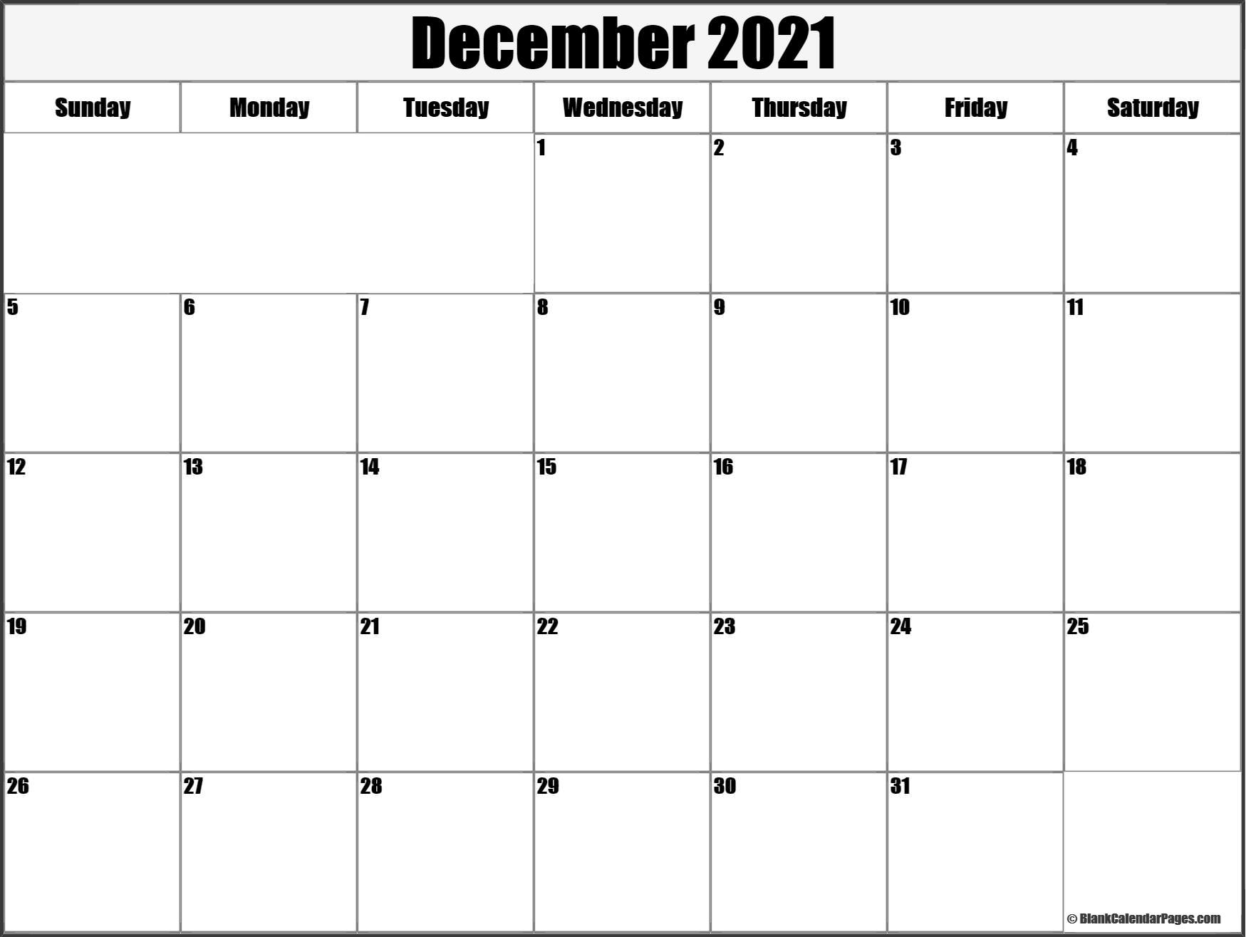 December 2021 Blank Calendar Templates.