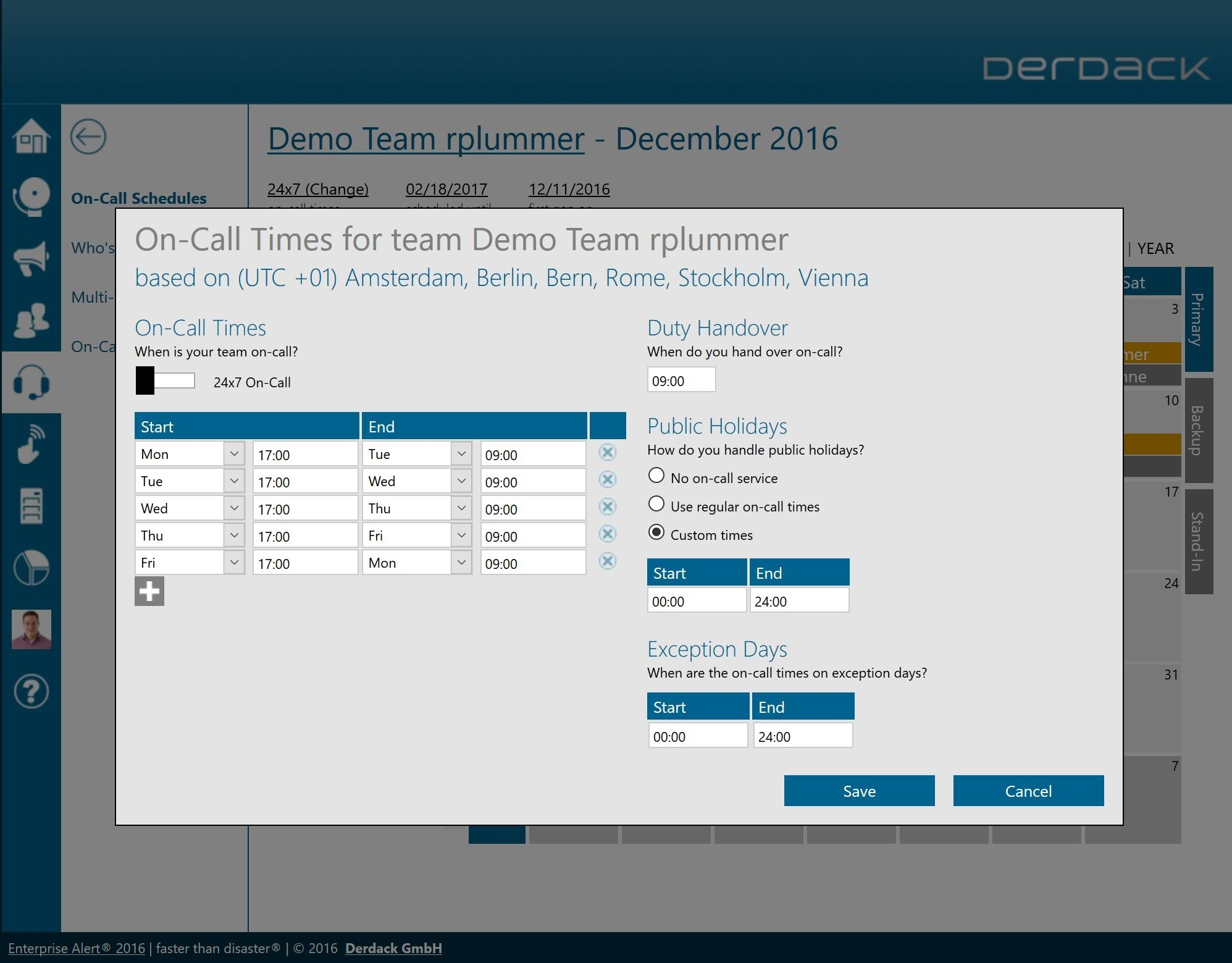 Derdack | On-Call Schedule Management With Auto-Rotation