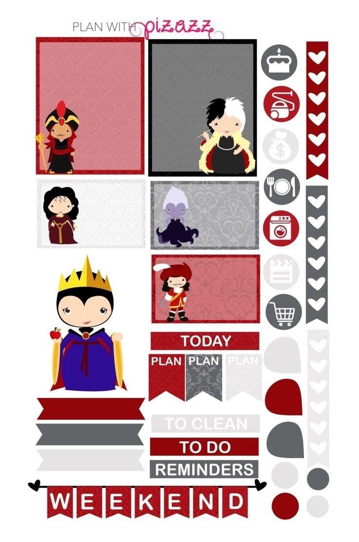 Disney Villain Inspired Weekly Theme Sticker Set By