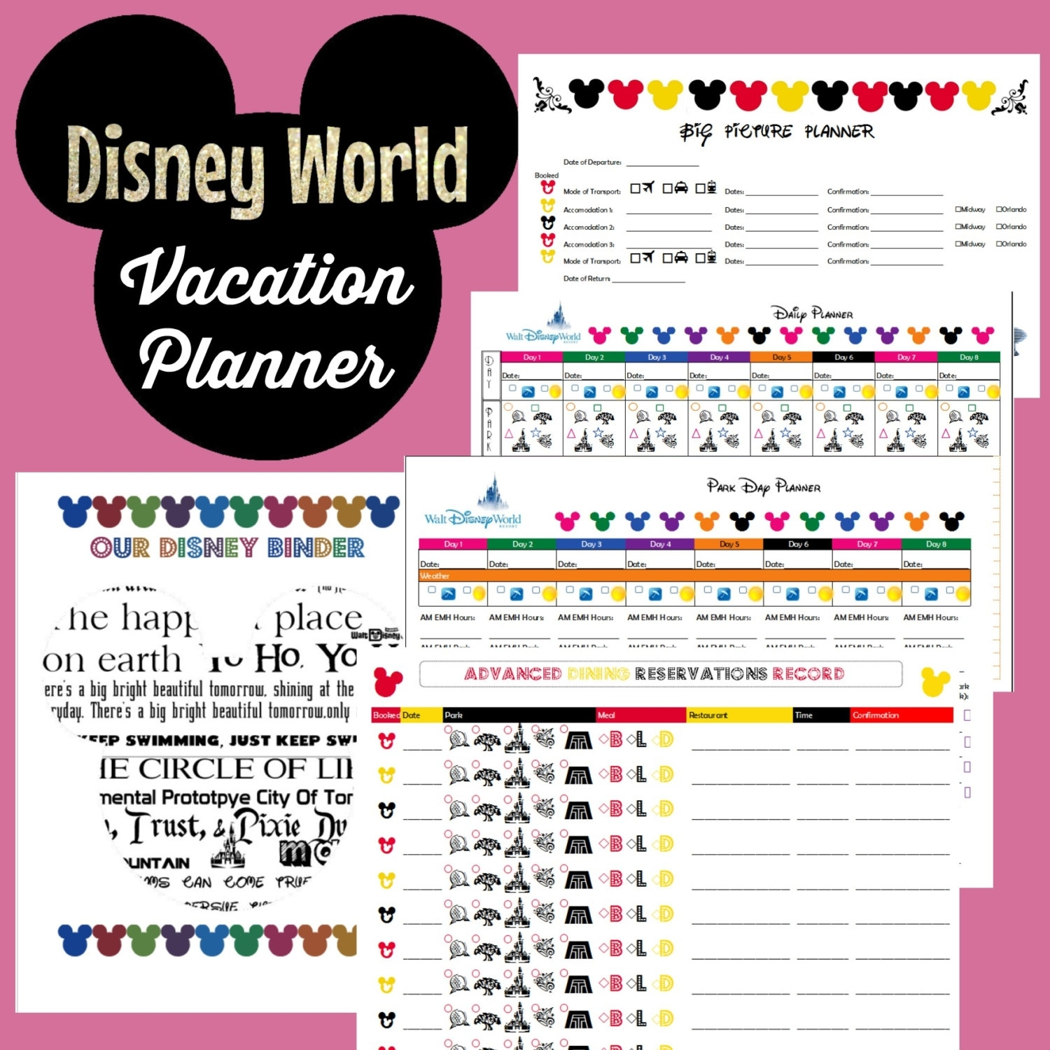 Disney World Vacation Planner Binder Set For 9 Day By