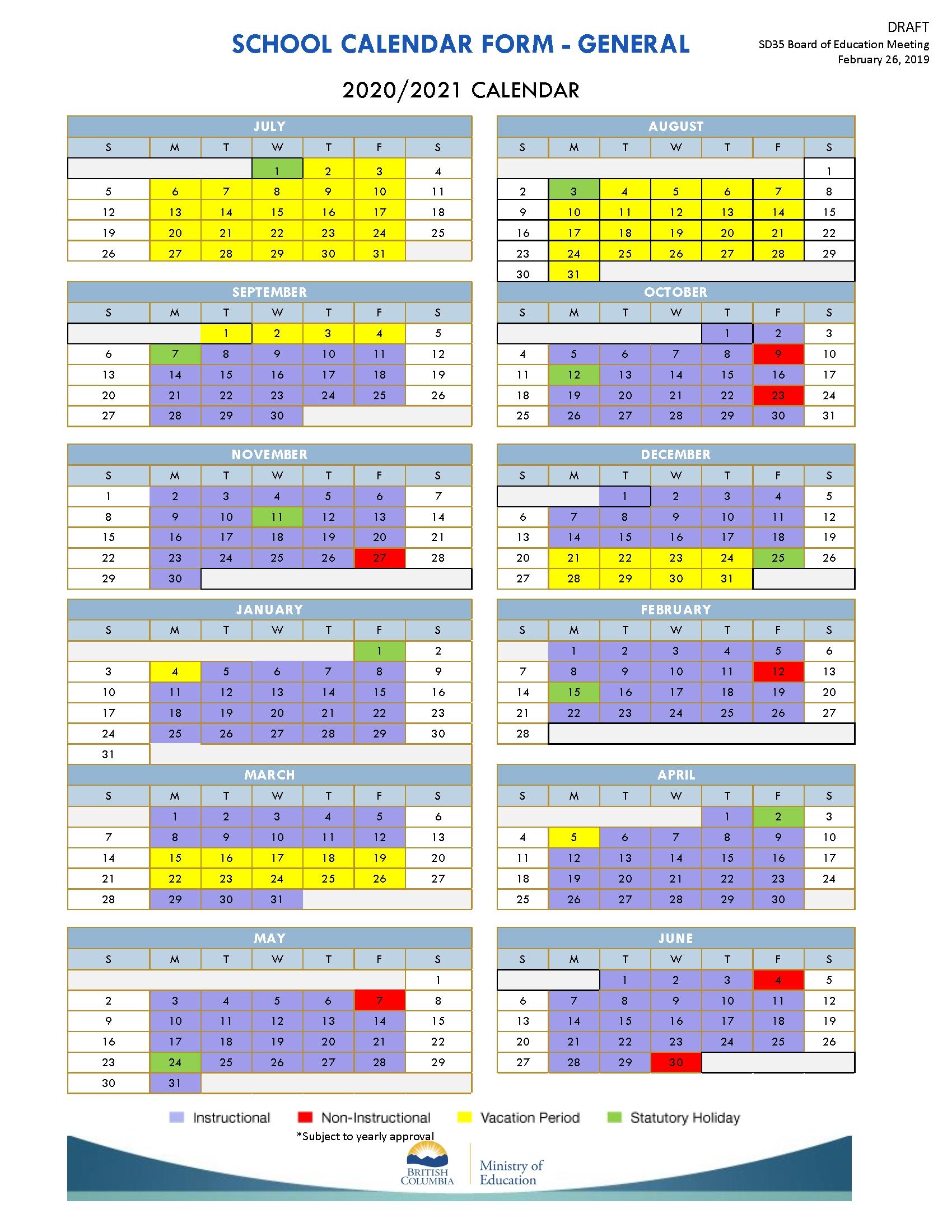 District Calendars 2019-2022 - School District No. 35