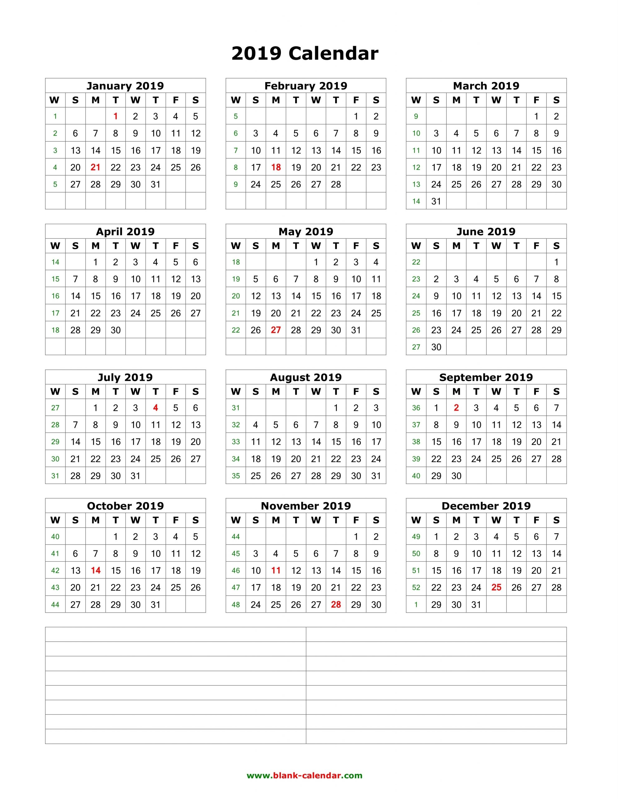 Download Blank Calendar 2019 With Space For Notes 12