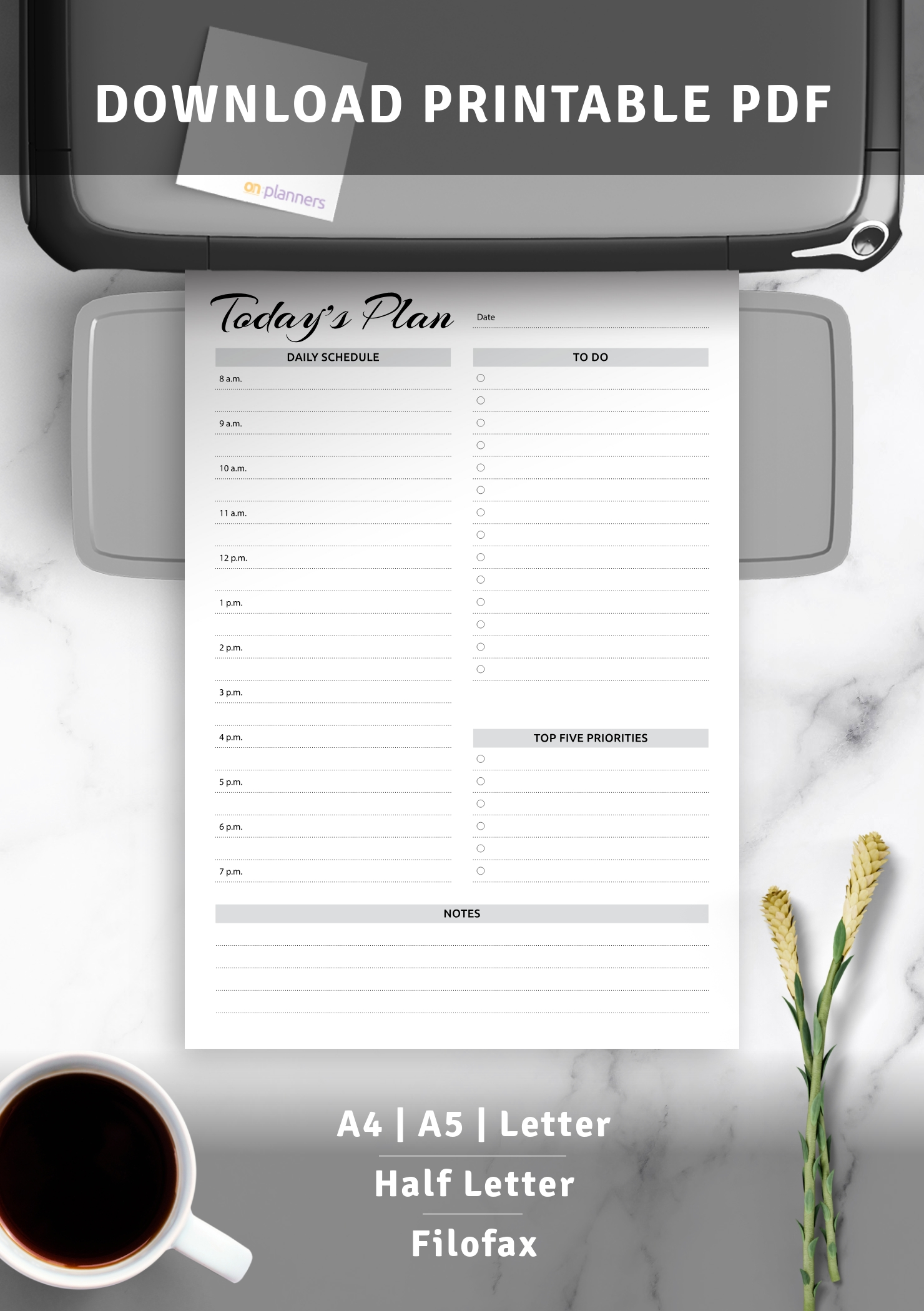 Download Printable Daily Planner With Hourly Schedule & To