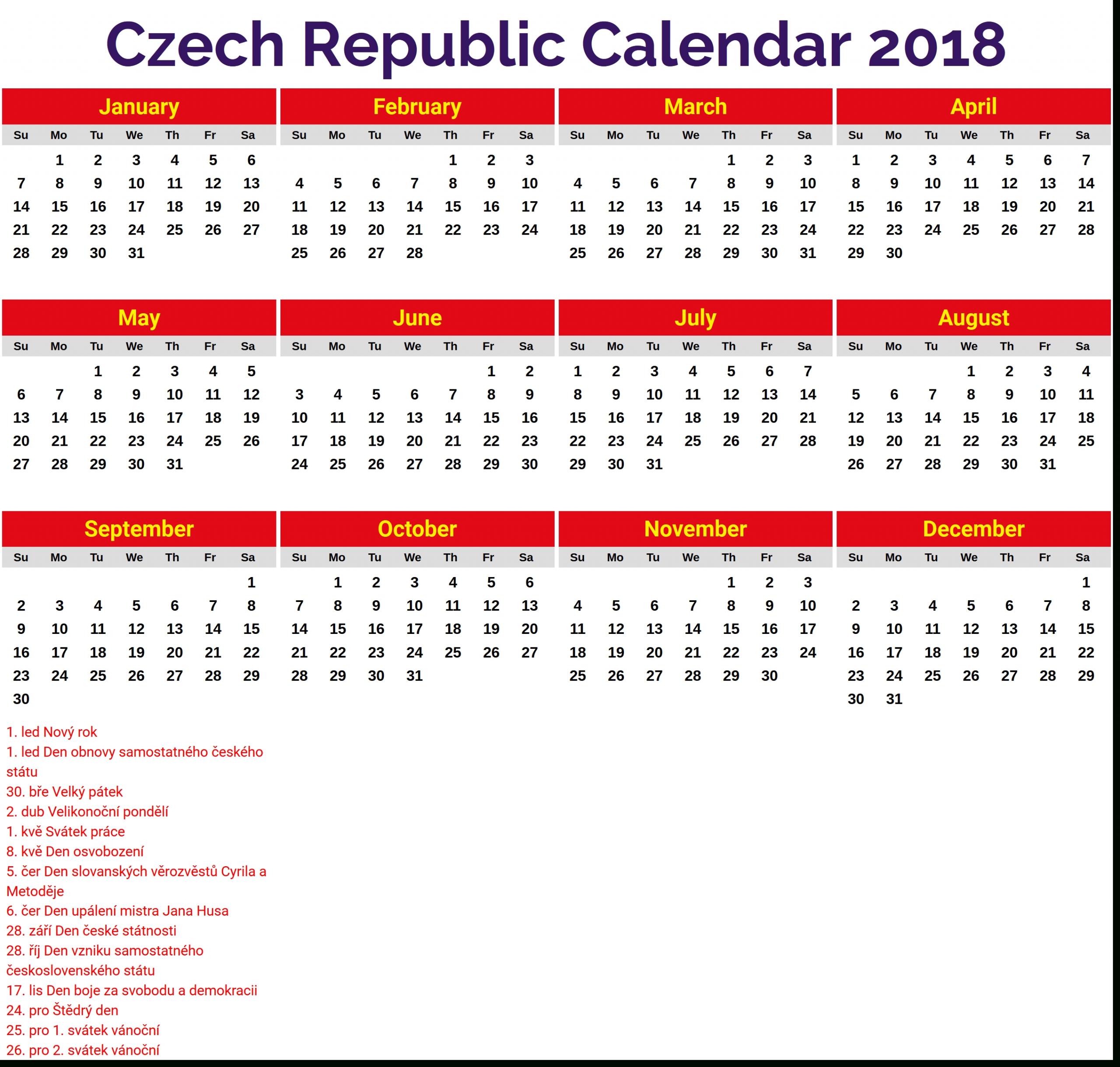Duben 2018 Kalendář | Calendars