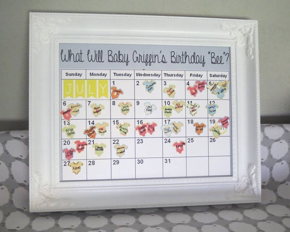 Due Date Prediction Calendar - Great Idea For A Baby