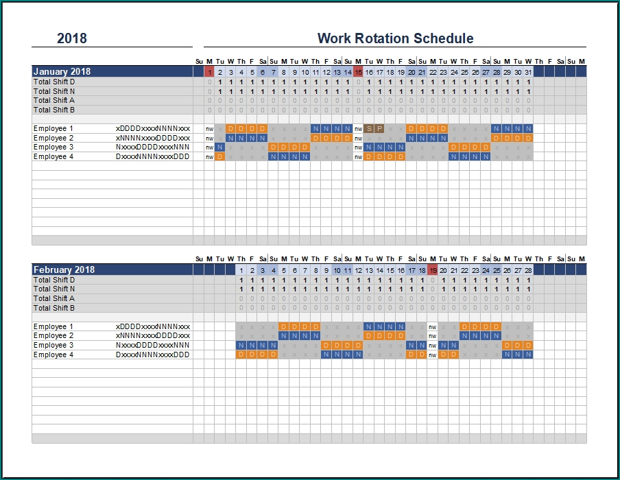 》Free Printable Rotating Shift Schedule Template | Bogiolo