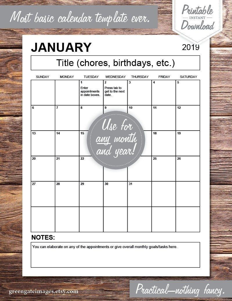 Editable Calendar Pdf: Any Year, Fillable, Printable