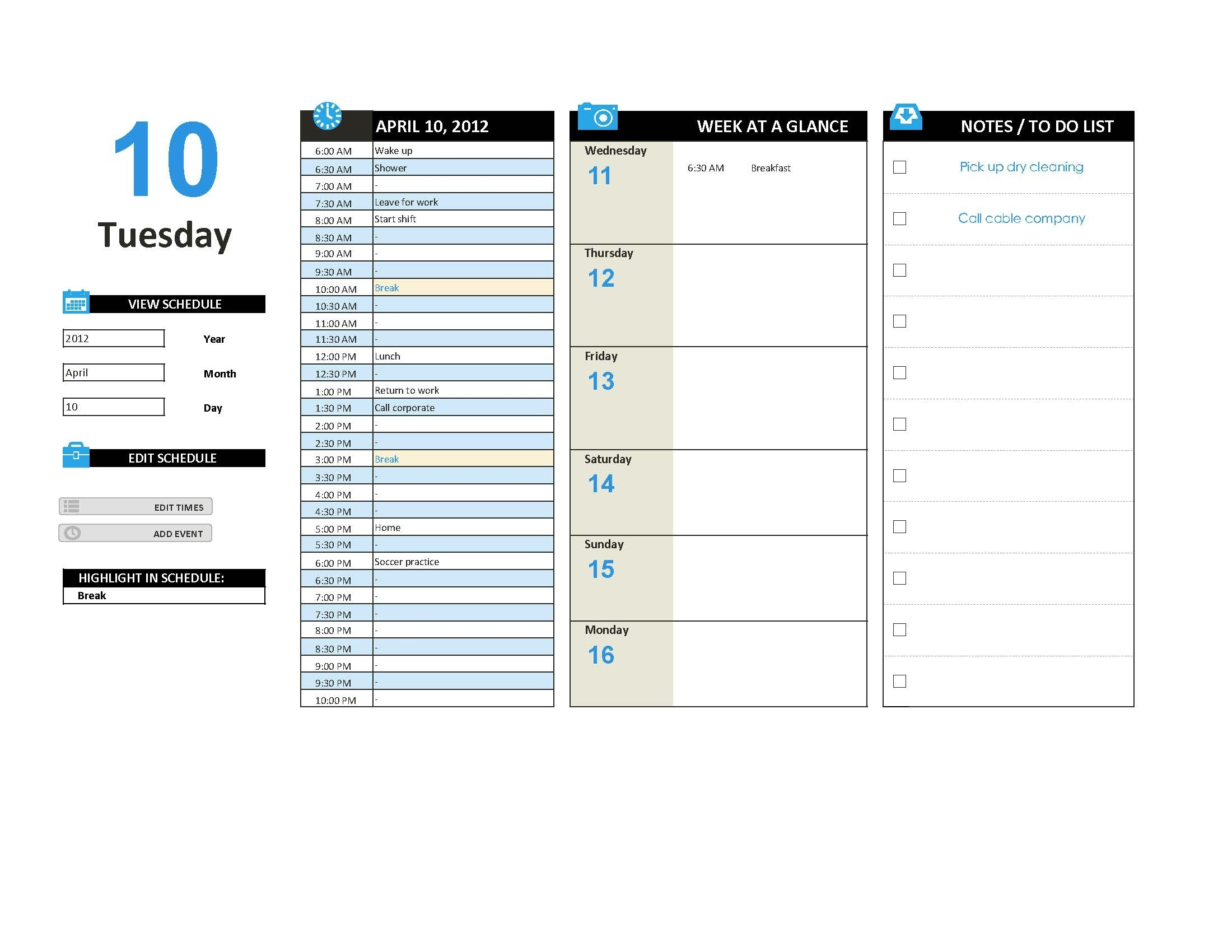 Editable Daily Work Schedule Template In Ms Excel - Pdf