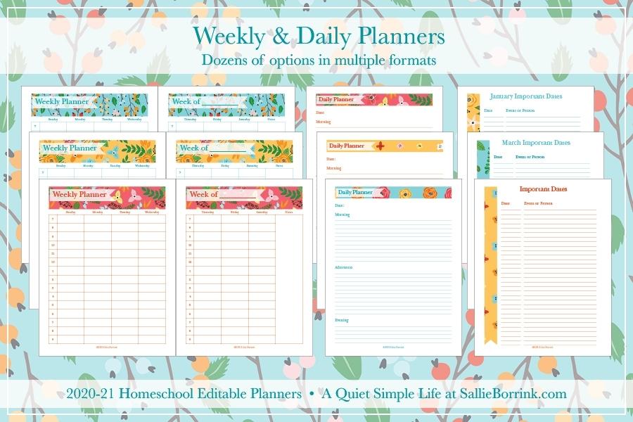 Editable Homeschool Planners (2020-2021) - A Quiet Simple