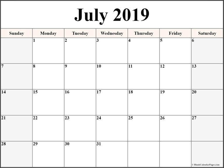 Editable July 2019 Calendar Word Template In Portrait And