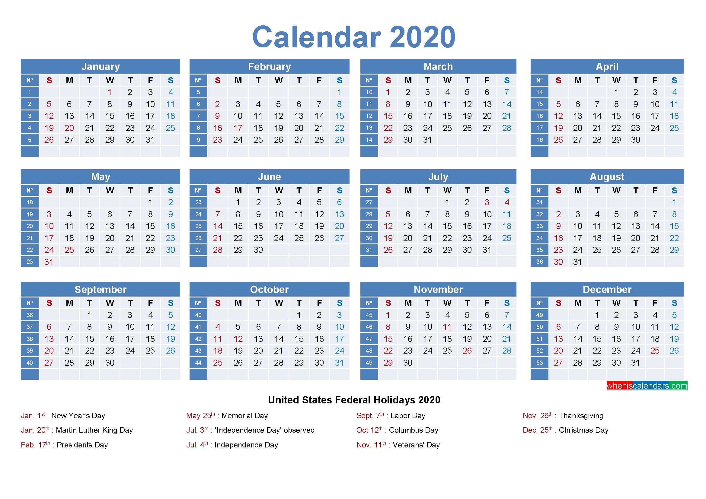Editable Printable Calendar 2020 Word – Template No.ep20Y8