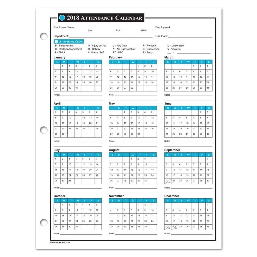 Employee Attendance Calendar 2018 - Free Tracker Pdf Excel