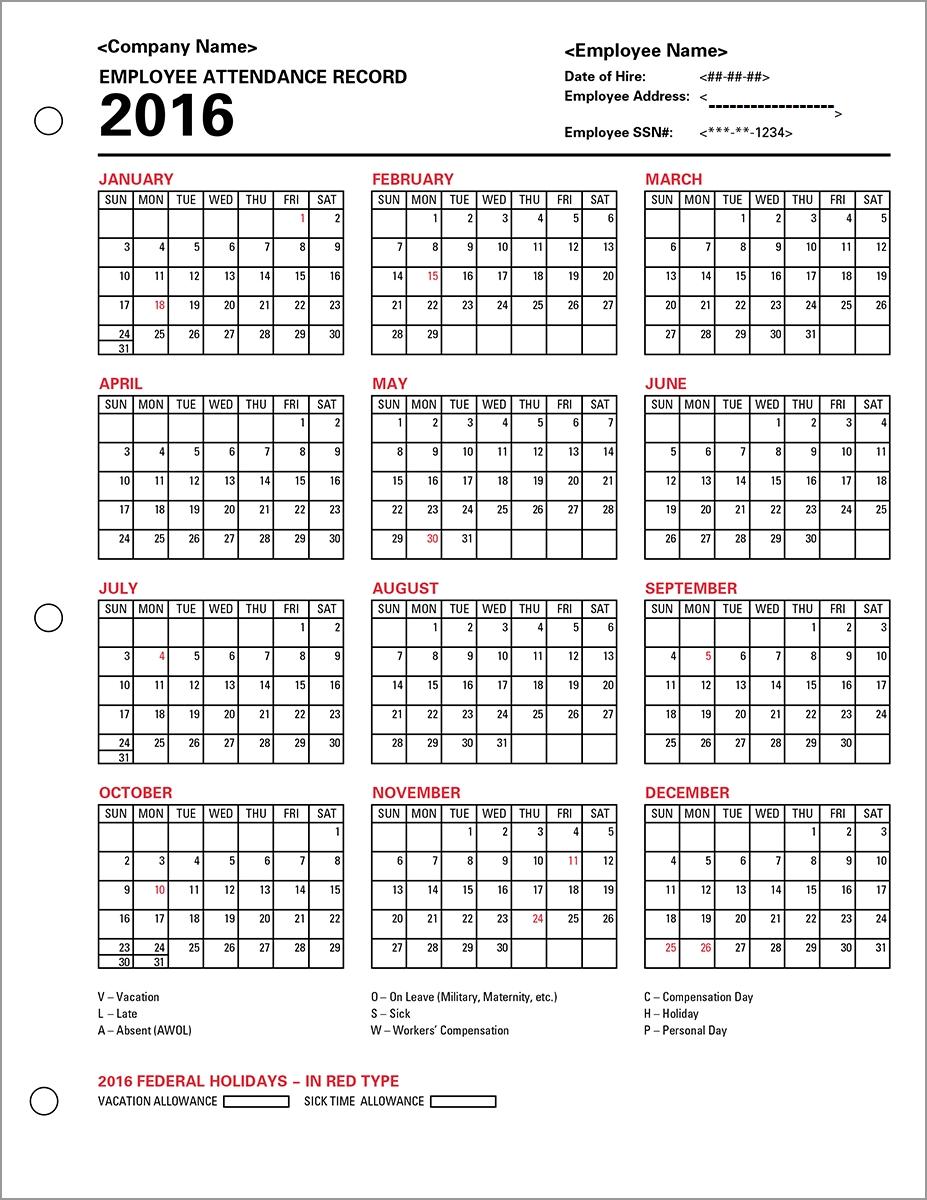 Employee Attendance Calendar | Tracker Templates 2019
