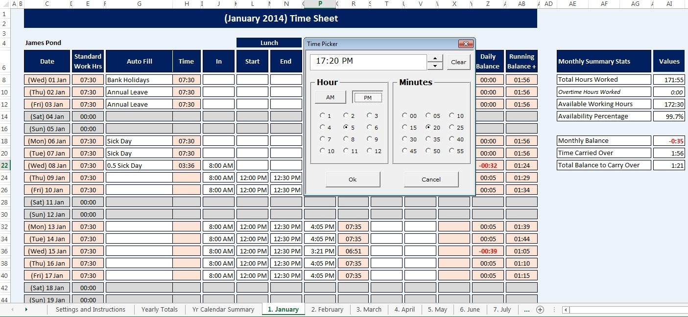 Employee, Staff Time Sheet & Calendar Reusable, Microsoft