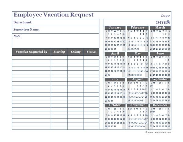Employee Time Off Calendar Template Excel :-Free Calendar