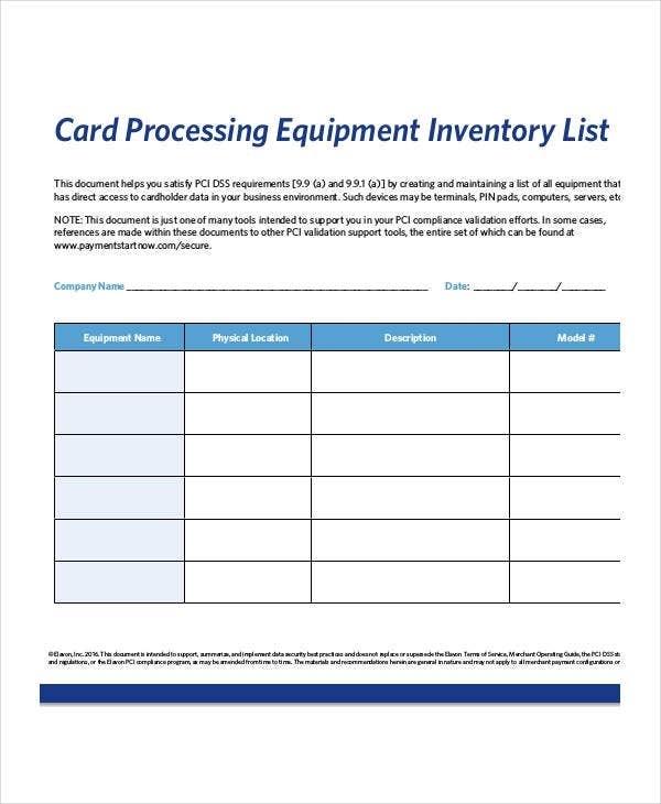 Equipment Inventory List Templates - 9+ Free Word, Pdf