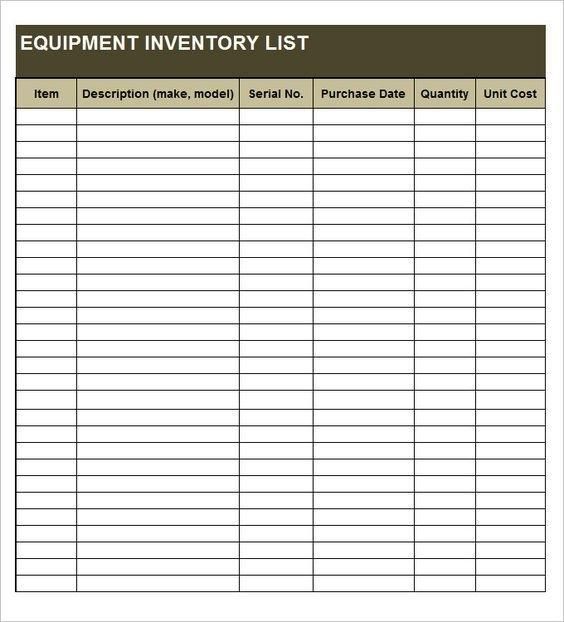 Equipment Inventory List Templates | Inventory Management