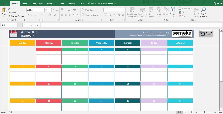 Excel Calendar Template 2019 - Free Printable Calendar