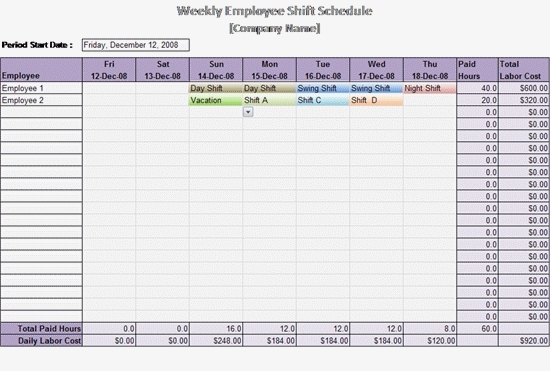 Excel Work Schedule Template – Task List Templates