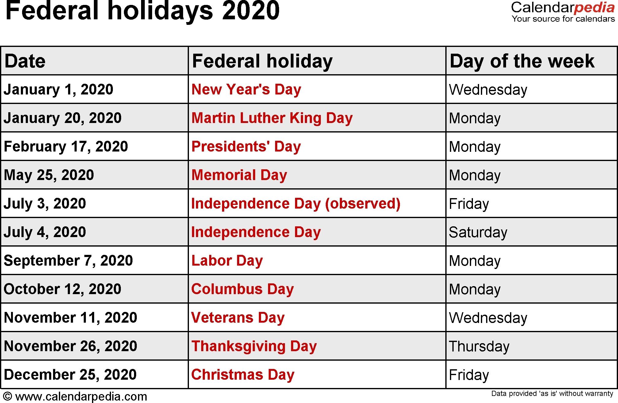 Exceptional 2020 Calendar Federal Holidays • Printable