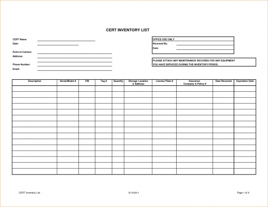 Expiration Date Checklist Log Template | Printable