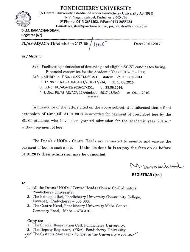 Facilitating Admission Of Deserving And Eligible Sc/St