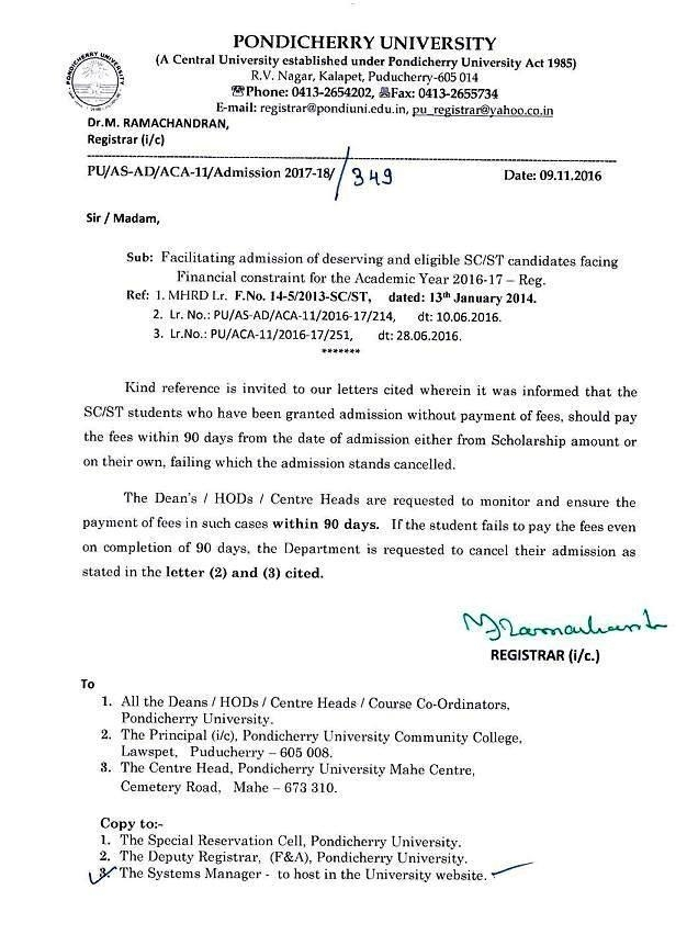 Facilitating Admission Of Deserving & Eligible Sc/St