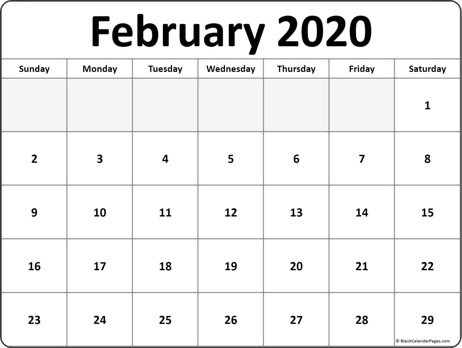 February 2020 Blank Calendar Templates.