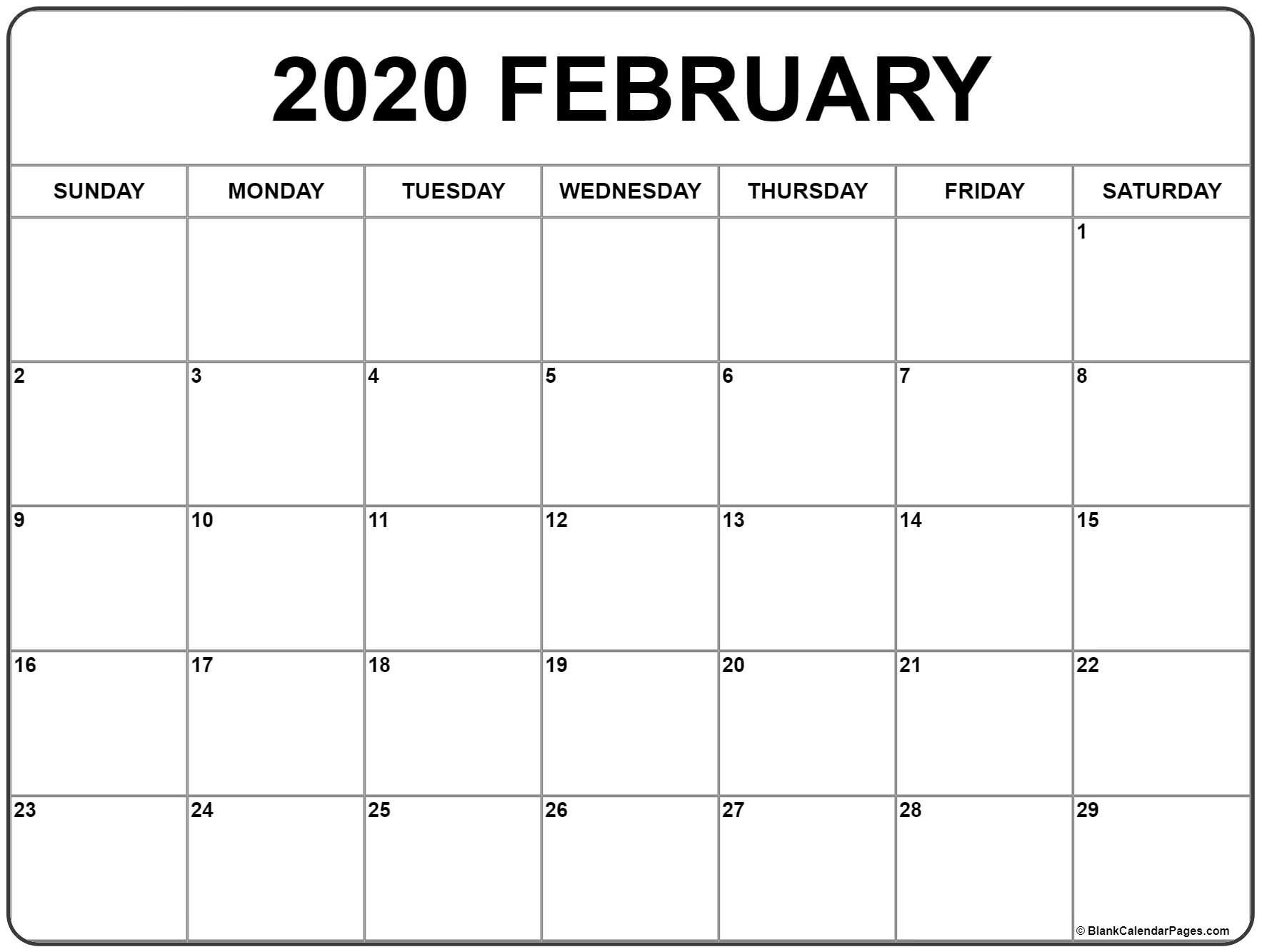 February 2020 Calendar | Free Printable Monthly Calendars